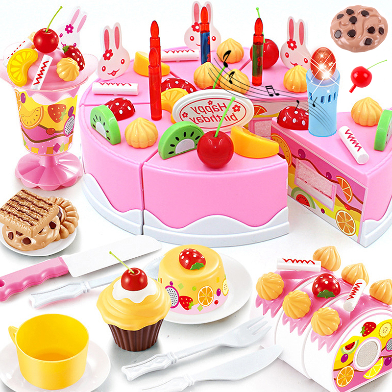New 76PCS DIY Cake Kitchen Toys Set Food Pretend Play Cutting Fruit Educational Birthday Toy Cocina De Juguete For Baby Kid Gift