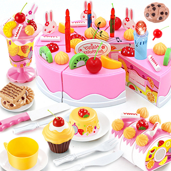 New 76PCS DIY Cake Kitchen Toys Set Food Pretend Play Cutting Fruit Educational Birthday Toy Cocina De Juguete For Baby Kid Gift 38 80pcs diy pretend play fruit cutting birthday cake kitchen food toys cocina de juguete toy children girls christmas gift toys