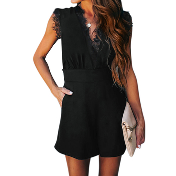 Solid Colour Black Short Playsuits With Pockets Women Summer Sleeveless Overalls Jumpsuits Ladies Casual Lace Rompers Mujer D30 black side pockets sleeveless outerwear