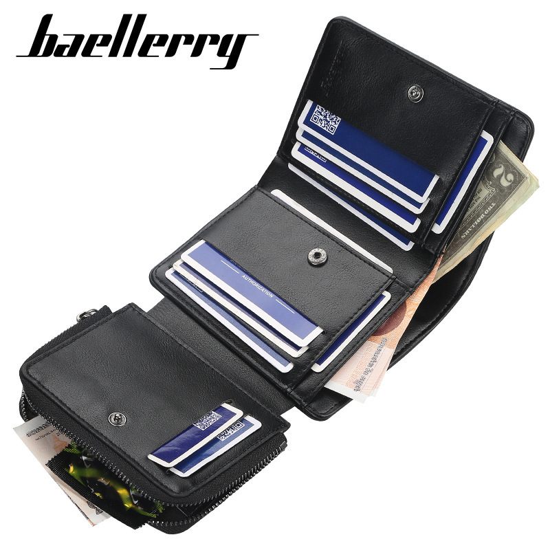Baellerry Wallet Male Purse New Coin Bag Zipper Purse Fashion 3 Fold Wallets Short Money Purse Card Holder Capacity Small Pocket