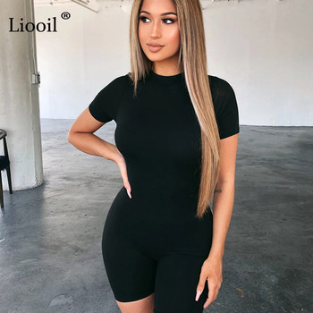 Liooil Black Gray Bodycon Playsuit Women Wear On Both Sides Sexy Jumpsuit Autumn 2020 Zip Up Party Club Romper Jumpsuits Shorts 6