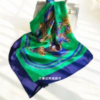 100% Pure Silk Satin Green Square Big Scarf Shawl Wrap Kerchief 34.5x34.5 WJ015