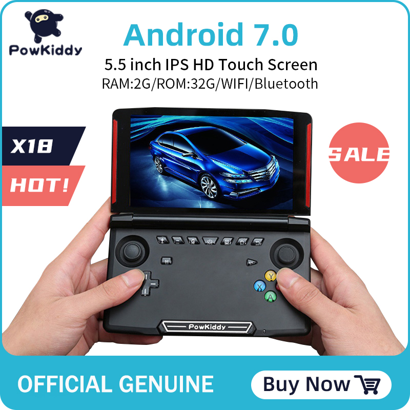 Powkiddy console de jogos, console de jogos portátil x18 andriod, tela de 5.5 polegadas 1280*720 mtk 8163, quad-core 2g de ram 32g rom vídeo jogador de mão