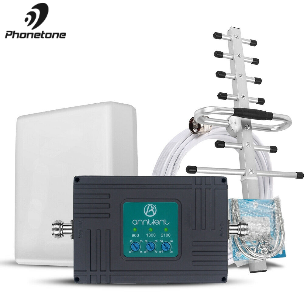 Tri-Band Cell Phone Signal Booster 2G 3G 4G GSM Repeater 900/1800/2100MHz GSM WCDMA 4G LTE Cellular Repeater Amplifier Full Set
