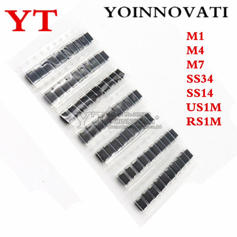 7 kinds*10pcs=70pcs/lot <font><b>SMD</b></font> <font><b>diode</b></font> package / M1 (1N4001) / M4 (1N4004) / M7 (<font><b>1N4007</b></font>)/ SS14 US1M RS1M SS34 KIT image