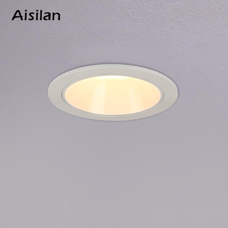 Aisilan светодиодный светильник белый/черный круглый встраиваемый светильник супер яркий 9 Вт домашний Точечный светильник для спальни кухни