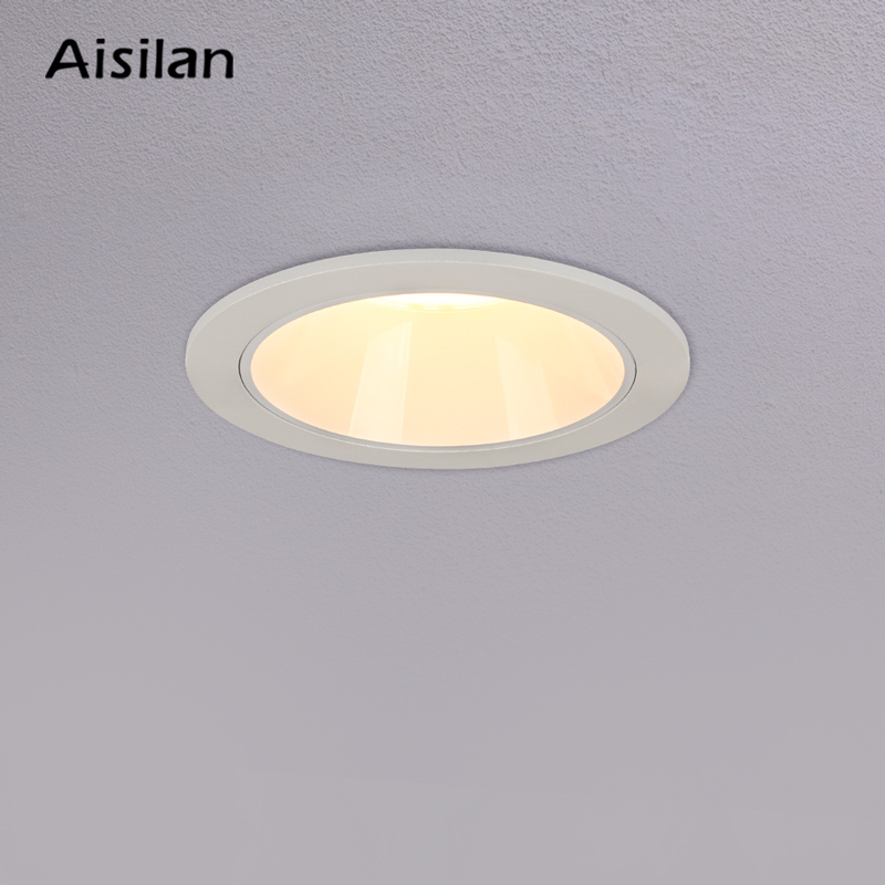 Aisilan LED Downlight White/Black Round Recessed Lamp Super bright 9W Indoor Spot lighting for Bedroom Kitchen