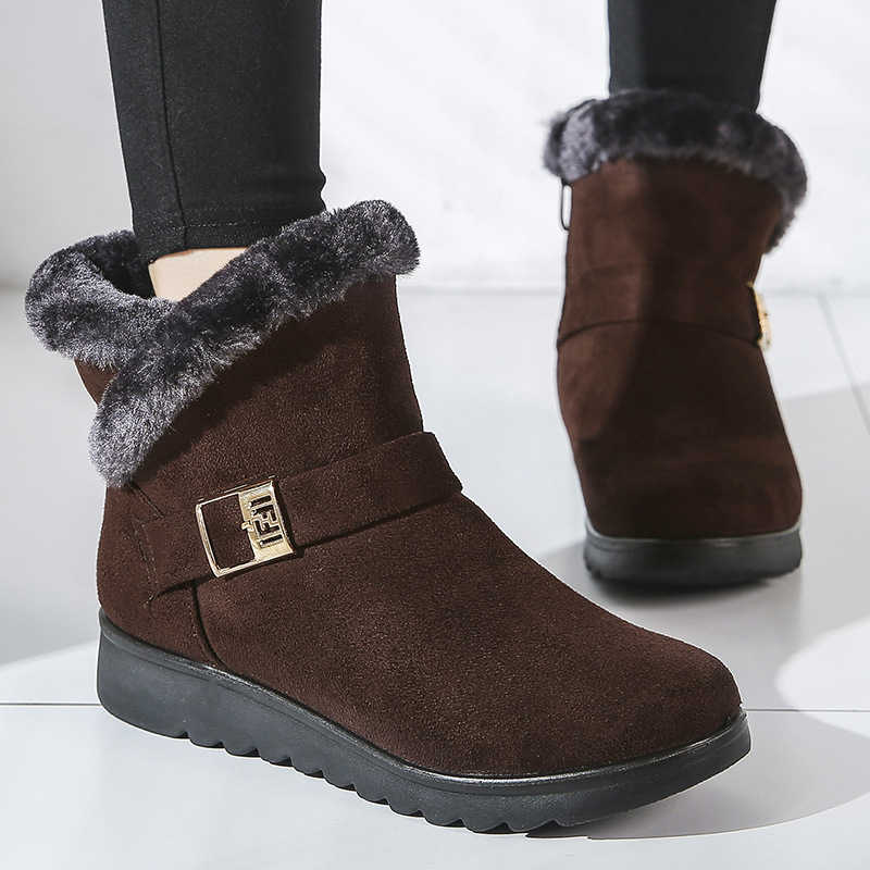 2019 Fashion Women Boots Thick Fur Winter Boots Classic Snow Ankle Boots For Women Winter Shoes Suede Warm Fur Plush Women Shoes