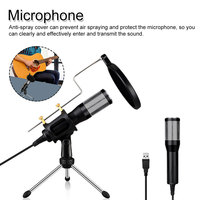 Condenser Microphone Set Microphone + USB Plug + Stand for Computer Laptop PC Studio Podcasting Professional Recording