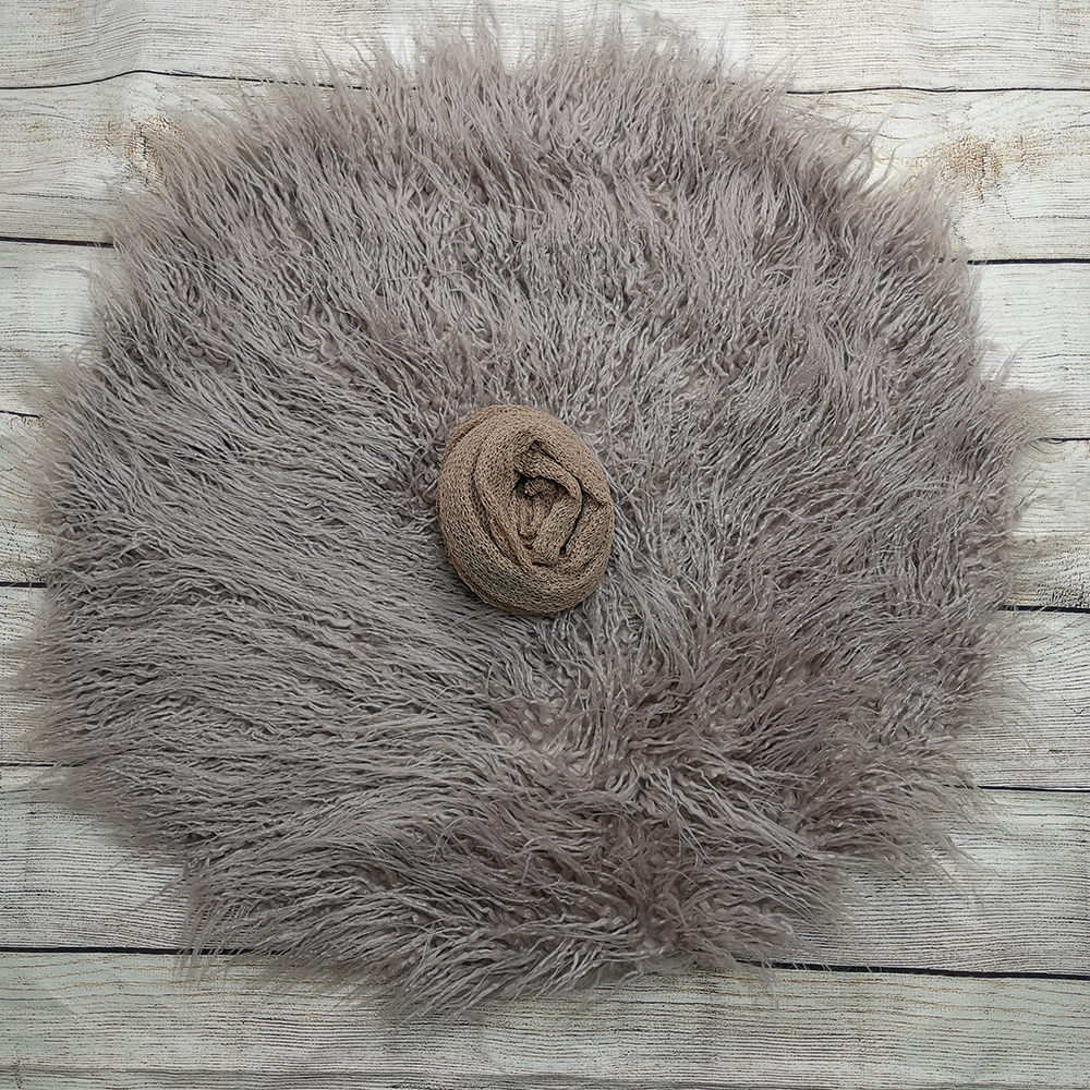 Dia=60cm Round Faux Fur Photography Blanket+140*30cm Stretch Knit Wrap For Newborn Photography Props