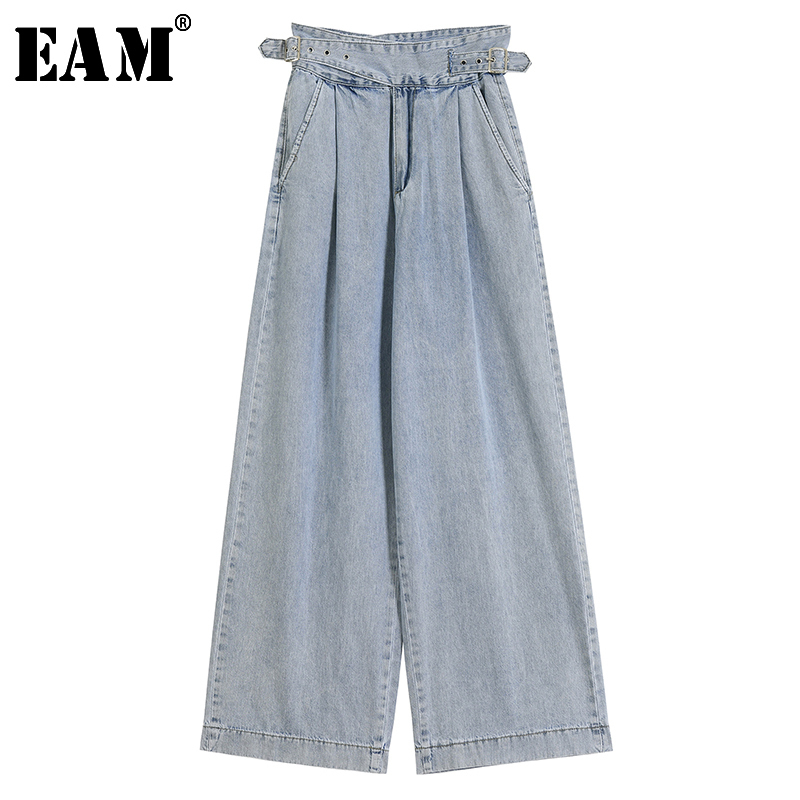 [EAM] Blue Long Bandage Denim Floor Length Wide Leg Jeans New High Waist Loose Women Trousers Fashion Spring Autumn 2020 JY830