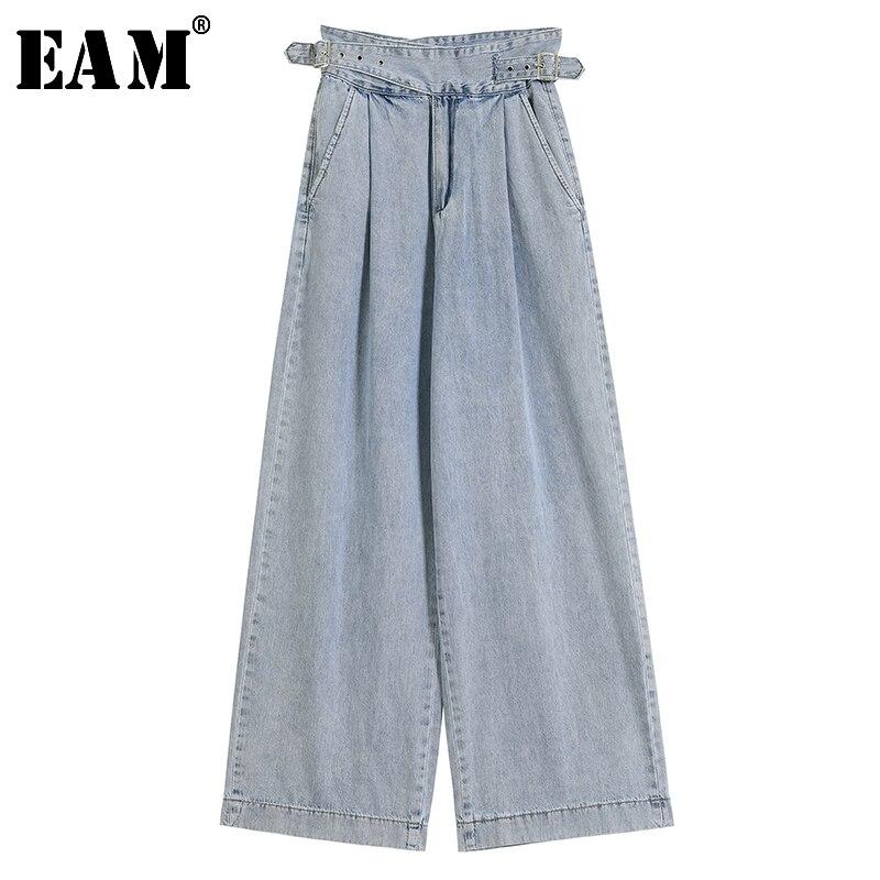 [EAM] Blue Long Bandage Denim Floor Length Wide Leg Jeans New High Waist Loose Women Trousers Fashion Spring Autumn 2020 JY830