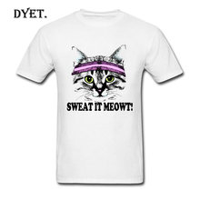 Funny Novelty Tshirt Cats Sweat It Meowt Printed On Tops T-Shirt 2018 Brand Judo Style Cool Men T Shirts Not Pocket Marseille(China)