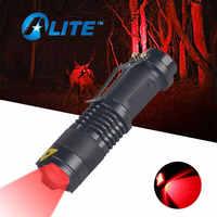 Mini linterna de luz roja con zoom ajustable, linterna táctica de caza roja con zoom ajustable para Detector de cámara de Hotel