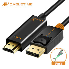 CABLETIME 2019 Arrival DisplayPort To HDMI Cable 1080P DP To HDMI M/M 4K 60hz Converter DP 1.2 for HDTV Projector Laptop PC C072(China)