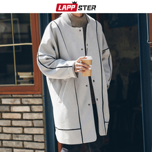 LAPPSTER Men Korean Fashions Long Coat 2020 Suede Trench Coat For Mens Striped O