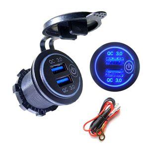 Image 3 - Double chargeur USB QC3.0 avec LED interrupteur tactile pour téléphone portable de moto de voiture
