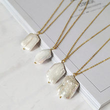 Trendy Fashion Simple Gold Chain Irregular Square Natural Shell Choker Necklace Women Girl Best Gifts(China)