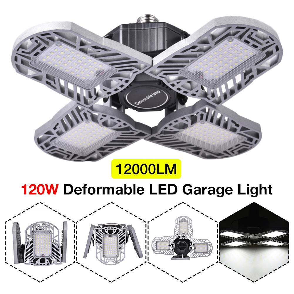 LED Garage Light Foldable Deformable Flashlight High Bay Light 120W 12000LM Super Bright For Indoor Working Lamp