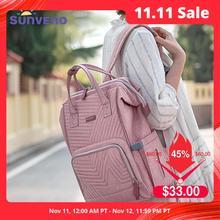 Sunveno للماء حقيبة ظهر للحفاضات مبطن كبيرة أمي الأمومة التمريض حقيبة حقيبة السفر عربة الطفل حقيبة الحفاض رعاية الطفل