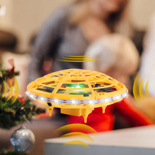 Flying Helicopter Mini UFO drone Yellow Hand Controlled Drone Flying Toys Infrared Induction Interactive Drone For Children(China)