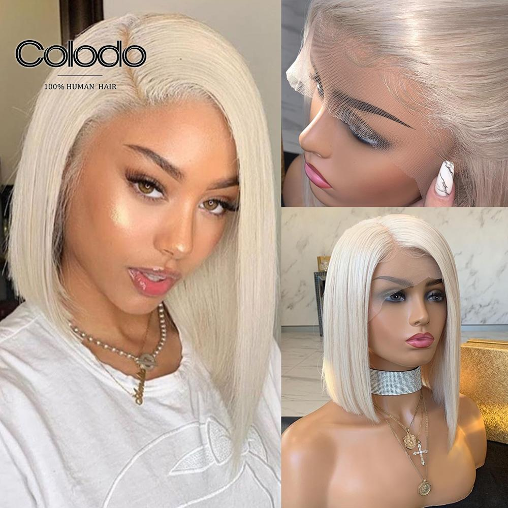 COLODO Platinum Blonde Side Part 13x6 Lace Front Wig Brazilian Remy Preplucked 150 Short Bob Full Lace Human Hair Wigs For Women