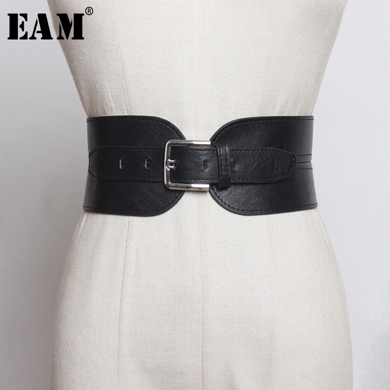 [EAM]  Pu Leather Balck Asymmetrical Buckle Wide Long Belt Personality Women New Fashion Tide All-match Spring 2020 1R383
