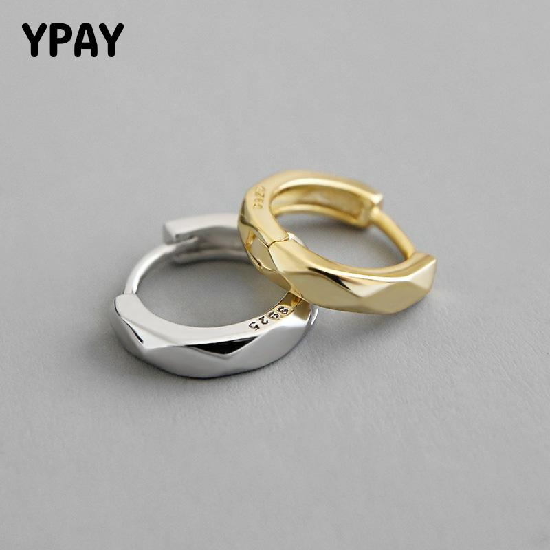 YPAY 1 PC 100% Real 925 Sterling Silver Hoop Earrings for Lady Korea INS Rhombus Circle Small Round Earring Fine Jewelry YME572