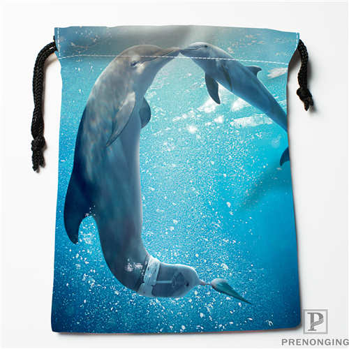 Custom Printing Dolphin (1) Drawstring Shopping Bags Travel Storage Pouch Swim Hiking Toy Bag Unisex  Multi Size19-01-04-5