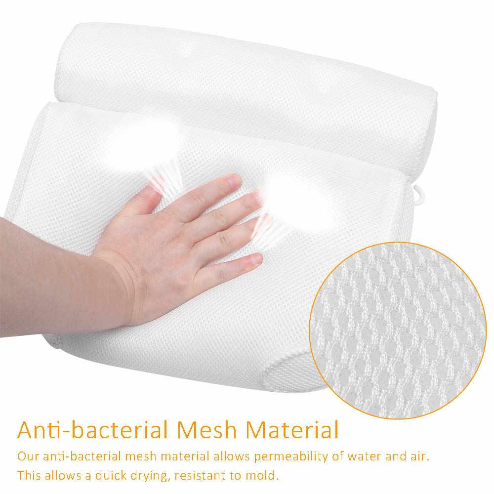 Transpirable 3D de malla de cojín de baño Spa con tazas de la succión de cuello y espalda apoyo Spa almohada casa caliente bañera cuarto de baño Accersories