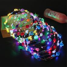 HOT Party Glowing Wreath Colourful fuCrown Flower Headband Women Girls LED Light Up Hair Wreath Hairband Garlands Gifts(China)
