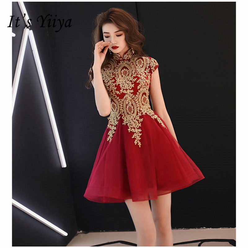 It's YiiYa Cocktail Dress Elegant Simple High Sleeveless Robe Cocktail Above Knee Crepe Ball Gown Party Woman Dresses E828