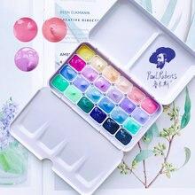 Caixa de pintura da aguarela da cor dos doces 24 cores/1ml portátil mini pintura da aguarela iniciante macaron conjunto fontes da arte