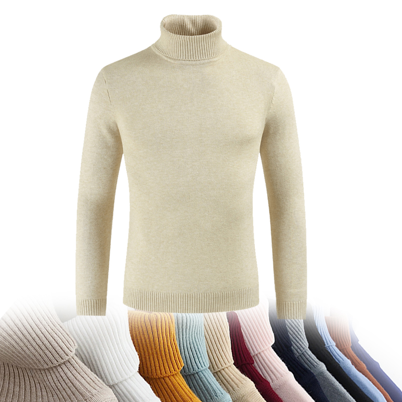 Male Sweater Men Winter Pullover Turtle Neck Men's Jumper White Mens Knitwear Pull Homme Turtleneck Men Sweater Christmas Cotton