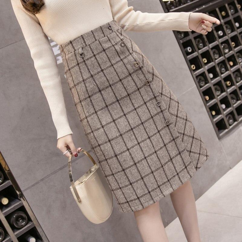 Winter Tweed Midi Skirts Women Plaid Single-breasted Skirt High Waist A-line Pencil Skirt Elegant Lady Wear