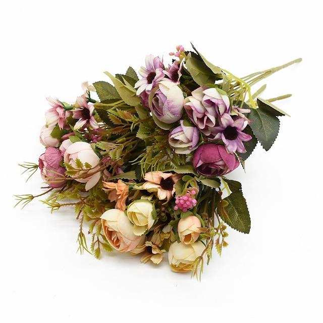 Multicolor Tea Roses Vases for Home Decoration Accessories Fake Daisy Plastic Plants Wedding Decorative Artificial Flowers Cheap 4