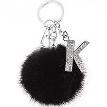 TEH Fluffy Black Pompom Faux Rabbit Fur Ball Keychains Cryst