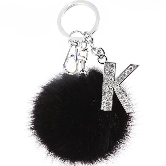 TEH puszysty czarny pompon Faux królik futrzana kulka breloki kryształowe litery breloki brelok modny ozdoba do torby akcesoria prezent