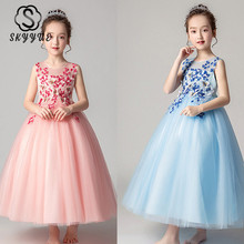 Skyyue Flower Girl Dresses for Wedding Lace Applique Ball Gown O-Neck Hollow Tulle Kid Party Communion Dress Elegant 2019 CK2979 skyyue flower girl dress elegant bow lace blue green purple kid wedding party gowns o neck long communion dresses for girls 722