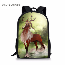 ELVISWORDS Fashion Childrens Backpacks Fantasy Deer Pattern Toddler Kids School Book Bags Cartoon Animal Girls Travel Backpack