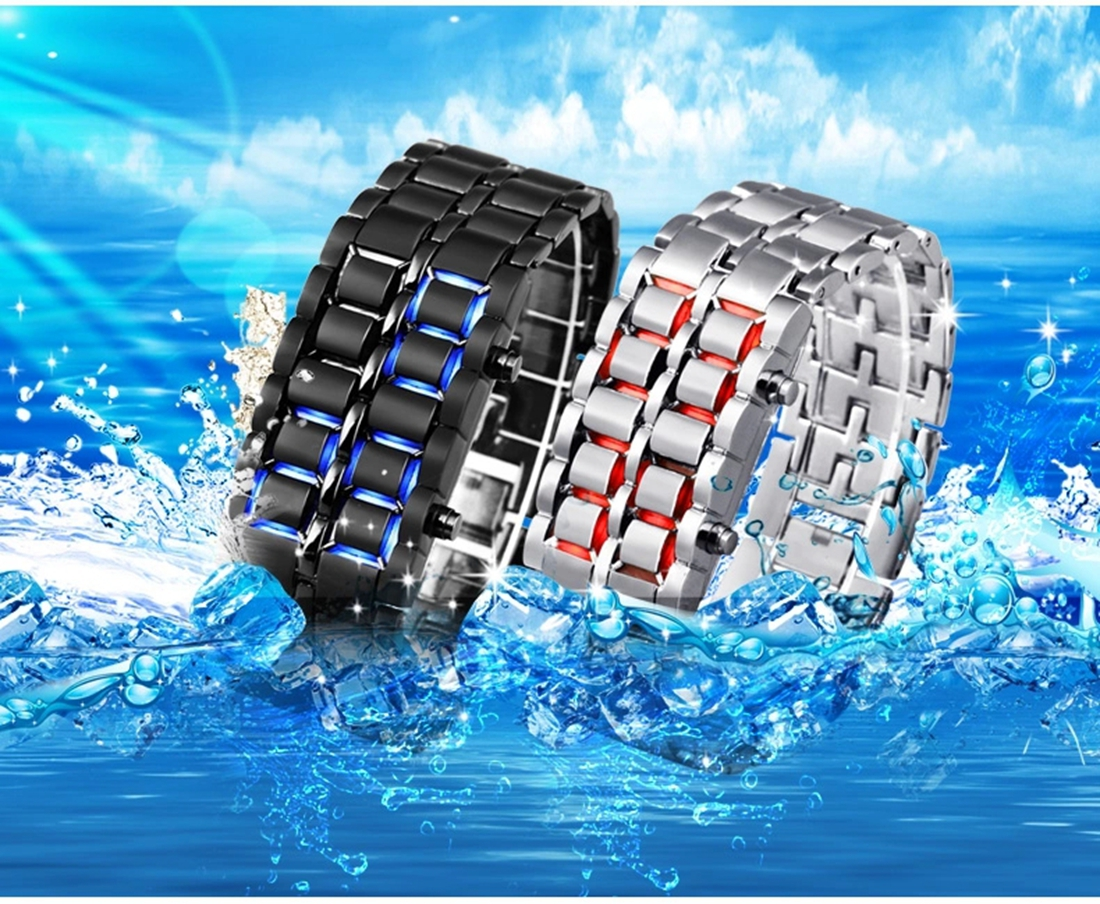 Lava Iron Samurai Men's Watch Luxury Stainless Steel Band LED Watches Date Hour Punk Bracelet Sport Wristwatches reloj hombre