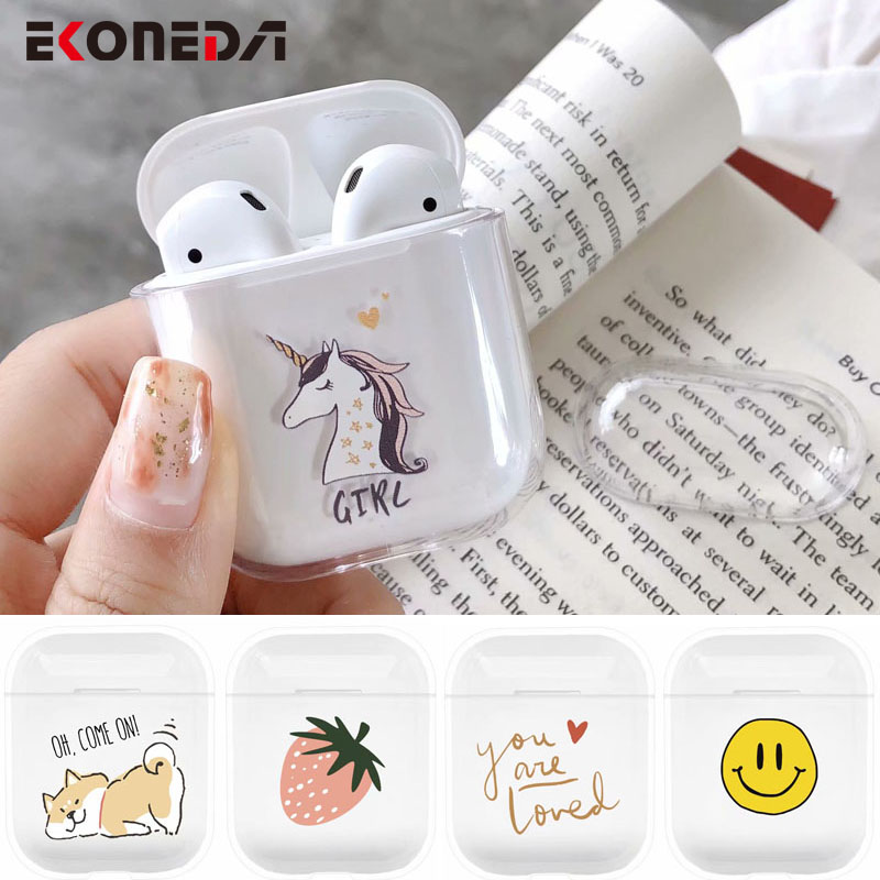EKONEDA Transparent Clear Plastic Case For Airpods Case Cartoon Cute Patterned Protective Cases For Airpod 2 Cover