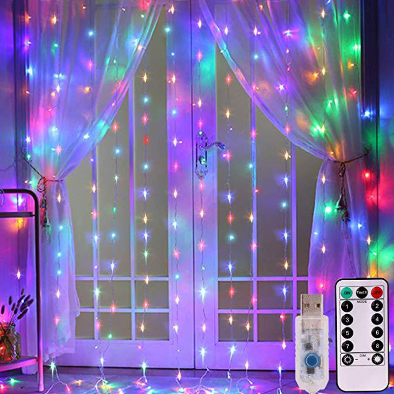 3M LED Curtain Lamp USB String Lights Remote Control Fairy Light Garland For New Year Christmas Home Wedding Decoration