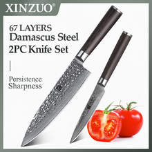XINZUO 2 adet mutfak bıçakları seti şam mutfak keskin çatal bıçak kaşık seti japon VG10 çekirdek yardımcı şef bıçağı Pakka ahşap kolu ile