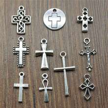 New 10pcs Mini Cross Charms Pendants For Bracelet Findings Jewelry Accessories