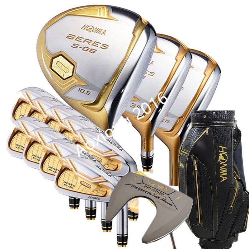 Nouveaux clubs de Golf HONMA S-06 4 étoiles Compelete club set pilote + 3/5 bois de parcours + fers + putter et Graphite arbre de Golf Nobag