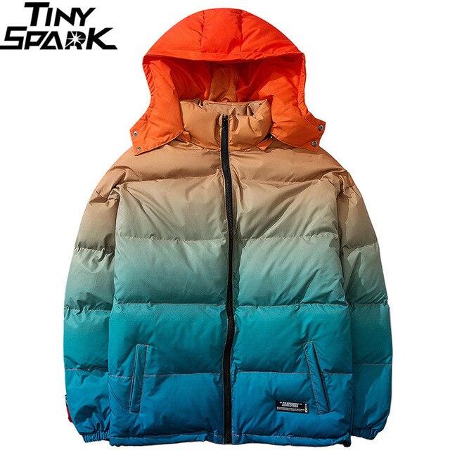 Men Hip Hop Hooded Jacket Winter 2019 Streetwear Gradient Color Padded Parka Harajuku Trench Coat Windbreaker Outwear Oversize