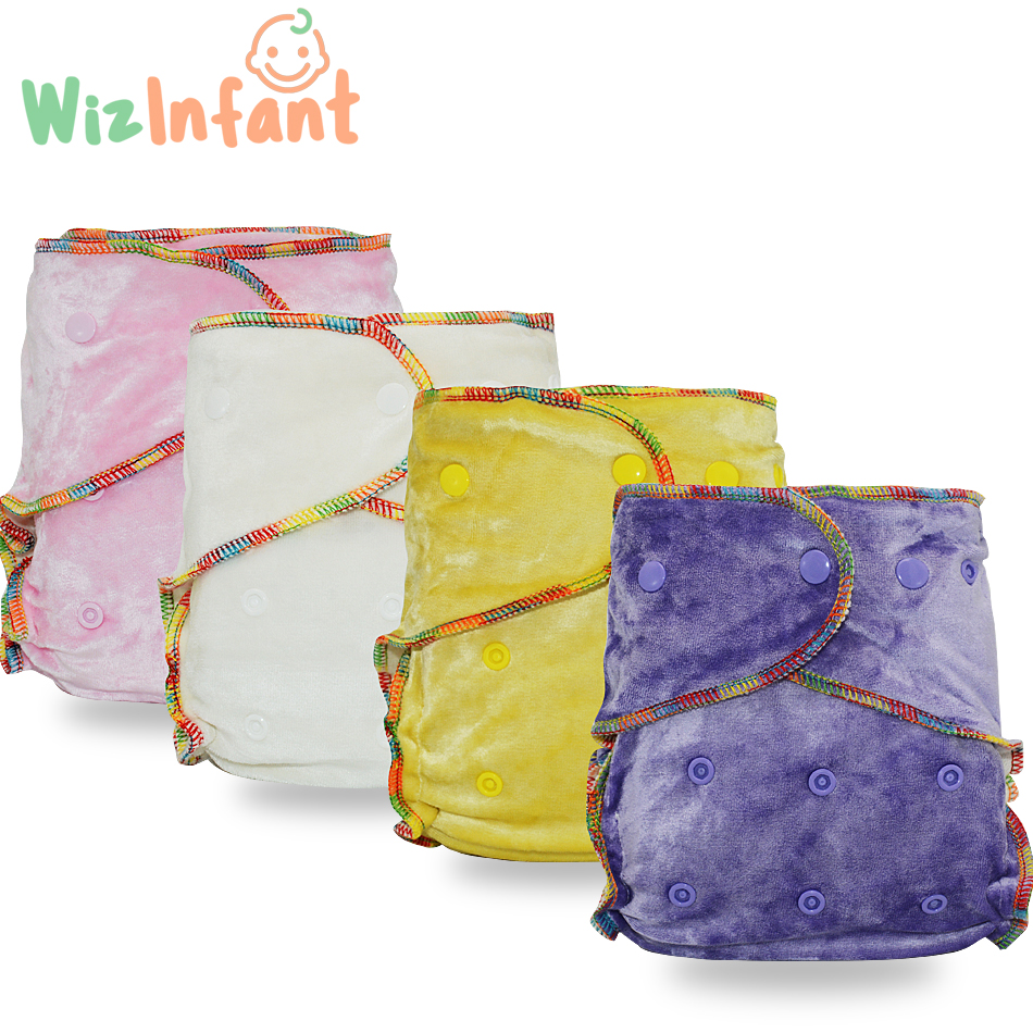 WizInfant Bamboo Velour Fitted Cloth Diaper AI2,Onesize, No Synthetic Material Touch Baby's Skin,Birth to Potty /5-18kg Baby