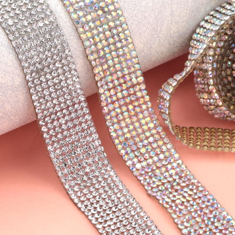 8-row Party Wedding Crystal Rhinestones Mesh Clear Wrap Chain Trim Jewelry