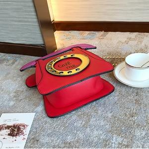 Image 4 - Brand Designer Cute Bag Mini Crossbody Bags Phone Chains Letter Funny Womens Pu Leather Telephone Shaped Fashion Messenger Bag